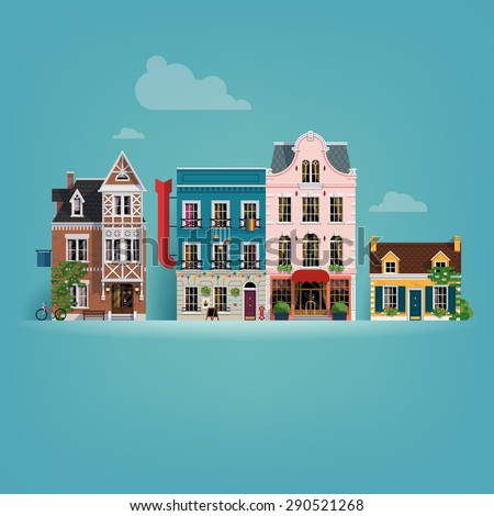 Beautiful detailed vector small european town buildings facades background - stock vector