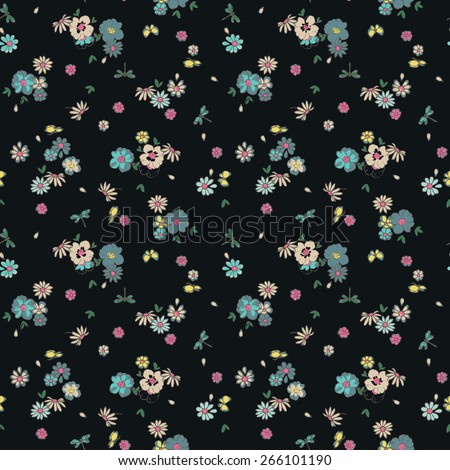 beautiful ditsy floral, butterfly, dragonfly seamless background - stock vector