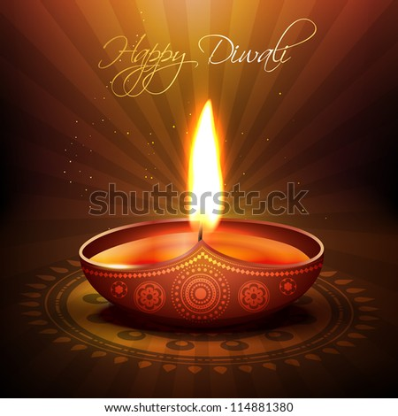 beautiful diwali diya vector background - stock vector