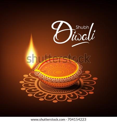 Beautiful diwali greeting card vector illustration stock photo beautiful diwali greeting card vector illustration of traditional illuminated burning oil lamp or floral diya m4hsunfo