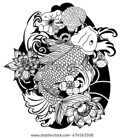 Beautiful Doodle Art Koi Carp Tattoo Design,Black And White Koi Fish And  Flower