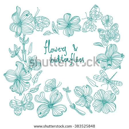Beautiful Doodle flower set over white background for design, dogwood flowers, Vector