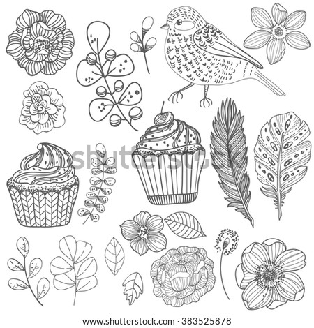Beautiful Doodle flower set over white background for design, Vector - stock vector