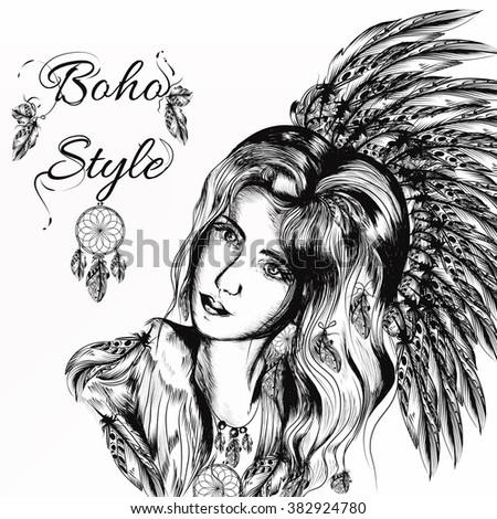 Beautiful dreamy long-haired girl in bo-ho style clothes with feathers and  hand drawn dream catcher in engraved  style - stock vector
