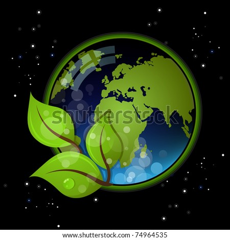 Beautiful Earth on black background. Ecology illustration - stock vector