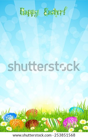 Beautiful Easter Background with Grass Flowers and Eggs - stock vector