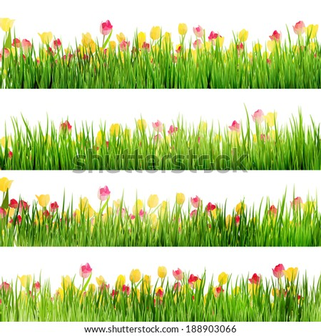 grass and flowers border. Brilliant Flowers Beautiful Easter Border With Grass And Flowers And Also Includes EPS 10  Vector To Grass Flowers Border N