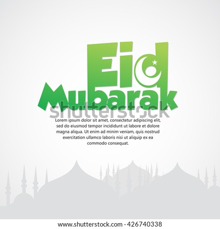 Beautiful Eid Mubarak Card Design with Nice, colorful Mosque and Black Background, Eps 10 - stock vector