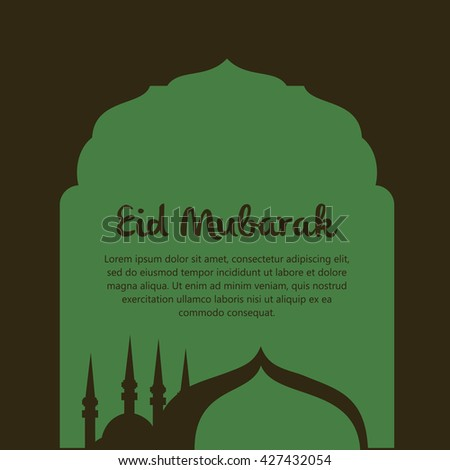 Beautiful Eid Mubarak Card Design with unique concepts, Mosque and watermark Background, Eps 10 - stock vector