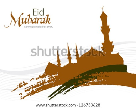 Beautiful Eid Mubarak Card with Nice grungy Mosque and white Background, Eps 10 waves in color of gray. - stock vector