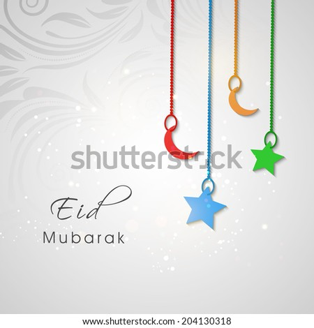 Beautiful Eid Mubarak greeting card design with hanging colourful moon and star on floral decorated grey background.  - stock vector