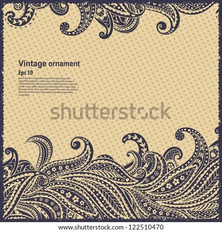 Beautiful elegant paisley ornamental frame - stock vector