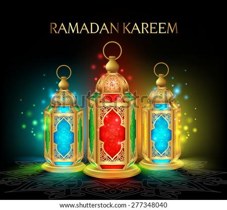 Beautiful Elegant Ramadan Kareem Lantern or Fanous in Gold With Colorful Lights in Night Background for the Holy Month Occasion of fasting. Editable Vector Illustration - stock vector