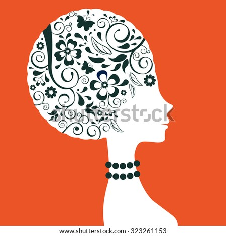 Beautiful elegant woman floral silhouette in vector format