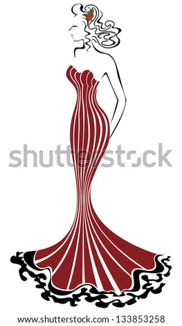 beautiful elegant woman in a long red dress - stock vector