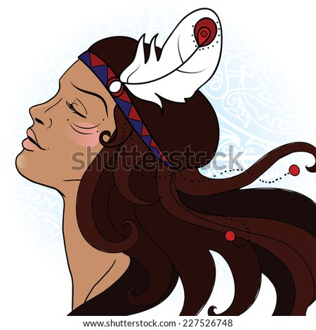 beautiful emotional American Indian woman with feather in hair, vector illustration. - stock vector