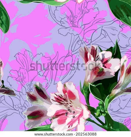 beautiful exotic flowers white colors with green leaves - stock vector