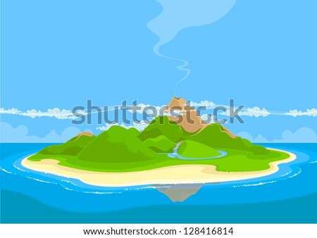 Beautiful exotic island - stock vector
