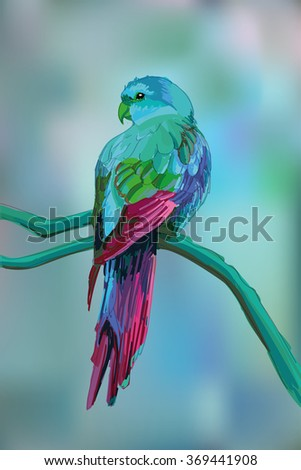 Beautiful exotic parrot on blurred background. - stock vector