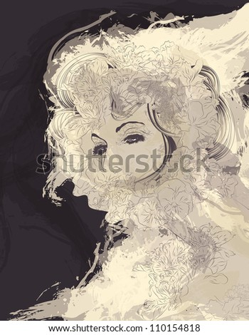 Beautiful exotic woman in artistic style with flowers - stock vector