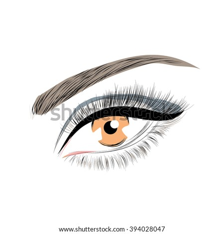 Beautiful eye with long eyelashes make up symbol
