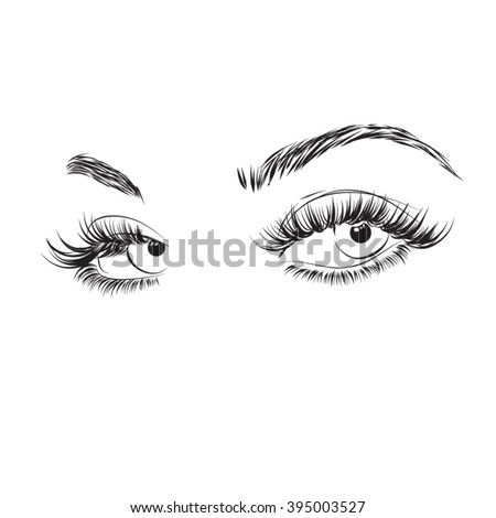 Beautiful eyes with long eyelashes make up icon