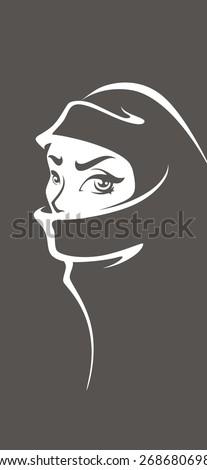 beautiful face of arabic muslim woman, vector background - stock vector