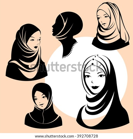 beautiful face of arabic muslim woman, vector illustration - stock vector