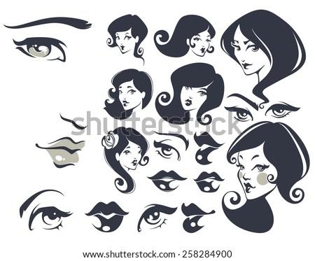 beautiful faces, vector woman collection - stock vector