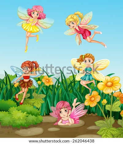 Beautiful fairies flying in the garden