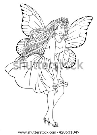 fairy graphic outline coloring pages | Beautiful Fairy Posing Dress Hand Drawn Stock Vector ...