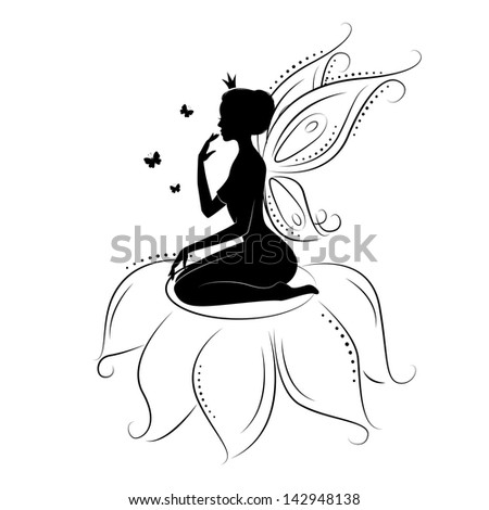 Beautiful fairy. Silhouette of a fairy on flowers with butterfly. - stock vector