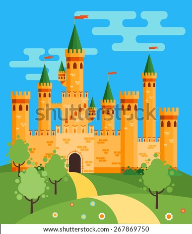 Beautiful fairytale castle. Vector flat illustration - stock vector