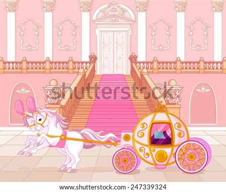 Beautiful fairytale pink carriage - stock vector