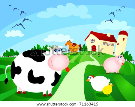 Beautiful farm surrounded by fields with grazing animals, vector