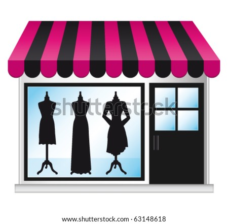 Beautiful fashion boutique with clothes in the shop window. Vector illustration. - stock vector