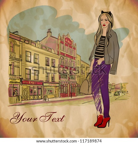 beautiful fashion girl on the street. vector illustration - stock vector