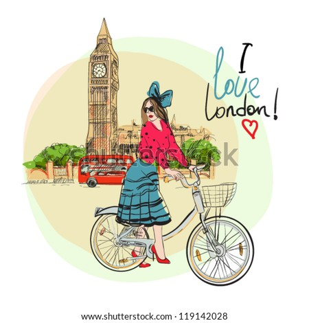 beautiful fashion girl with bicycle - stock vector
