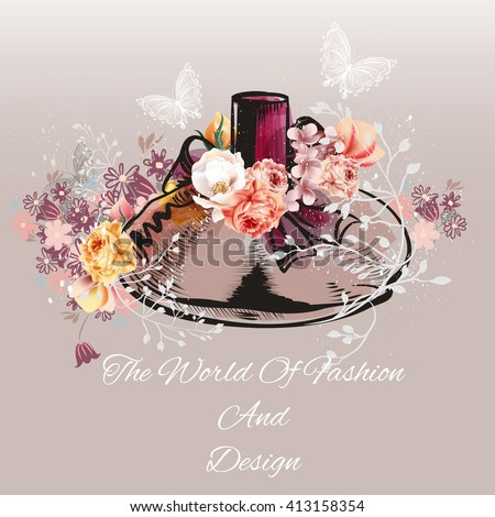 Beautiful fashion vector background with hand drawn bottle of perfume with roses in retro style the world of fashion and design - stock vector