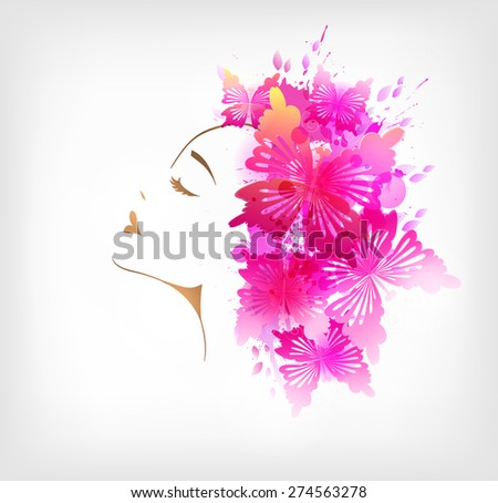 Beautiful fashion woman with abstract colorful flower and butterflies - stock vector