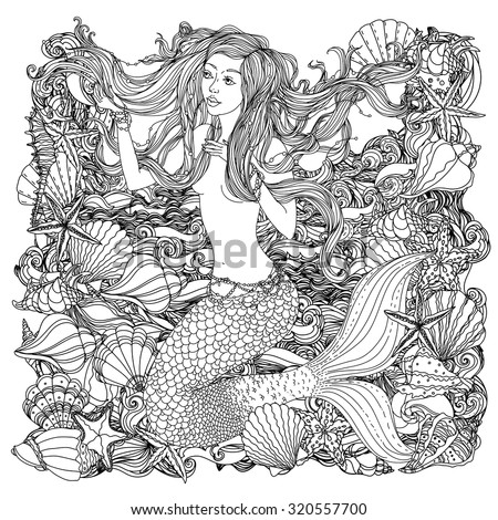 Beautiful fashion woman with abstract hair and  design elements of seashells, starfish, seaweed in the image of a mermaid, could be used  for coloring book.  Black and white in zentangle style. - stock vector