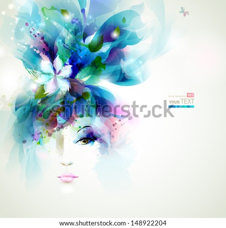 Beautiful fashion women face with flower - stock vector