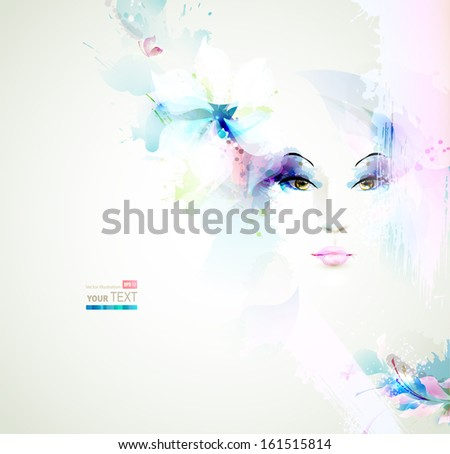 Beautiful fashion women face with natural elements and flowers - stock vector