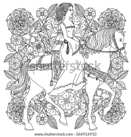 Beautiful fashion  women in the image of the princess from a fairy tale, riding on a horse on orient floral black and white  ornament, could be use  for coloring book  in zentangle style.