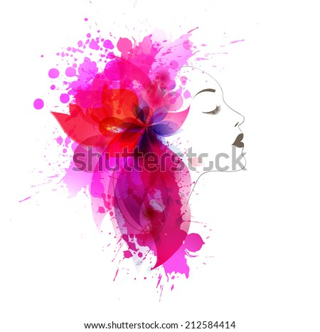 Beautiful fashion women with abstract colorful flower and blots. - stock vector