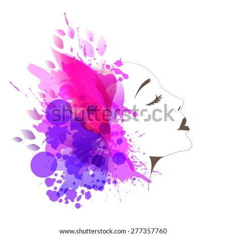 Beautiful fashion women with abstract colorful flower and butterflies - stock vector