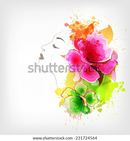 Beautiful fashion women with abstract colorful flower and poppy - stock vector