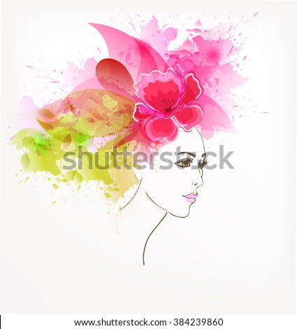 Beautiful fashion women with abstract colorful flowers. - stock vector
