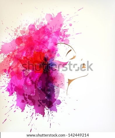 Beautiful fashion women with abstract  flower and blots - stock vector