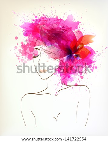 Beautiful fashion women with abstract pink flower and blots. - stock vector